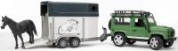 Внедорожник Bruder Land Rover Defender с прицепом-коневозкой и лошадью 02592