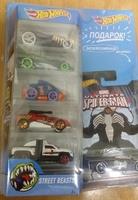 Hot Wheels Подарочный набор из 5 машинок и 1 коллекционная серия Человек-Паук