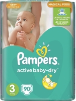 Подгузники Pampers Active Baby-Dry Midi 3 (5-9 кг), 90 шт