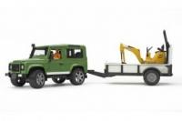 Внедорожник Land Rover Bruder c прицепом и экскаватором 02593
